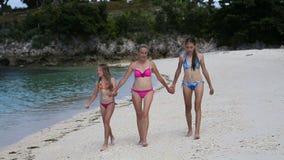 Gelukkige familie die op het strand loopt stock video