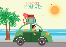 Gelukkige familie die op strand tijdens vakanties genieten van Royalty-vrije Stock Fotografie