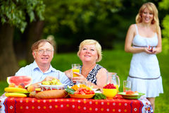 Gelukkige familie die picknick hebben Royalty-vrije Stock Foto