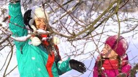 Gelukkige familie die pret het spelen in de sneeuw hebben Mamma en haar twee kinderen Zij schudden de sneeuw van de boom en de la stock footage