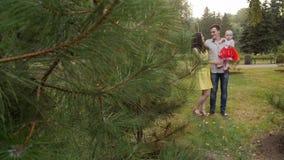 Gelukkige familie die pret in openlucht in park hebben HD stock videobeelden