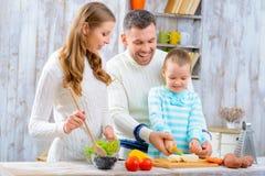 Gelukkige familie die samen kookt stock afbeeldingen