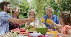 Gelukkige familie die samen roosteren stock footage