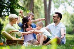 Gelukkige familie die van picknick in aard genieten bij de zomer stock foto