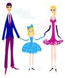 Gelukkige familie die zich in een lijn bevindt stock illustratie