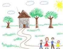 Gelukkige familie en hun huis Stock Foto's