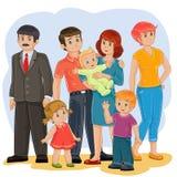 gelukkige familie - grootvader, grootmoeder, papa, mamma, dochter, zoon en baby royalty-vrije illustratie
