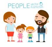 Gelukkige familie, het Gelukkige familie gesturing met vrolijke glimlach Vector Illustratie
