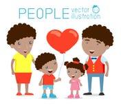 Gelukkige familie, het Gelukkige familie gesturing met vrolijke glimlach, Ouders met jonge geitjes Vector kleurrijke illustratie  Stock Foto