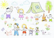 Gelukkige familie in het kamperen Stock Afbeeldingen