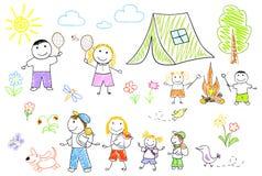 Gelukkige familie in het kamperen Stock Foto's