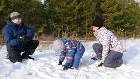 Gelukkige familie het spelen sneeuwballen in het bos in een langzame motie stock video