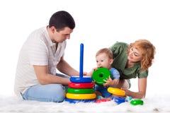 Gelukkige familie met baby. royalty-vrije stock afbeeldingen