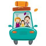 Gelukkige familie met dochter het reizen door auto royalty-vrije illustratie