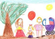 Gelukkige familie met een kinderwagen Royalty-vrije Stock Foto's