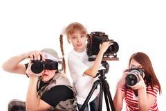 Gelukkige familie met groepscamera. stock foto