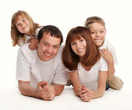 Gelukkige familie met twee kinderen Stock Foto