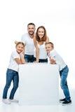Gelukkige familie met twee kinderen royalty-vrije stock foto's
