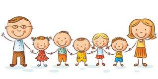 Gelukkige familie met vele kinderen Royalty-vrije Stock Afbeeldingen
