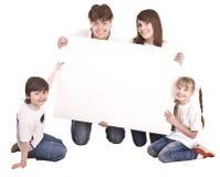 Gelukkige familie met witte banner. Stock Foto's