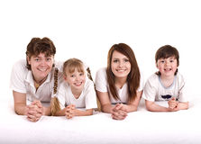 Gelukkige familie: moeder, vader, dochter, zoon. Royalty-vrije Stock Foto