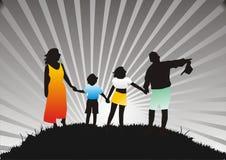 Gelukkige familie op aard Stock Afbeelding
