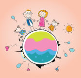 Gelukkige familie op de VECTOR van de Aarde â stock illustratie