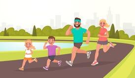 Gelukkige familie op een jogging De vader, de moeder, de dochter en de zoon zijn Stock Afbeeldingen