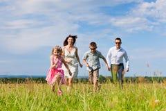 Gelukkige familie op een weide in de zomer royalty-vrije stock afbeelding