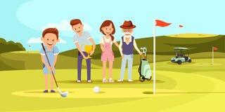 Gelukkige Familie op het Speelgolf van de Golfcursus leisure stock illustratie