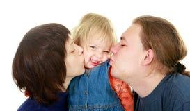 Gelukkige familie over wit Stock Afbeeldingen