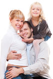 Gelukkige familie over witte achtergrond Stock Foto's