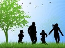 Gelukkige familie samen in openlucht stock illustratie