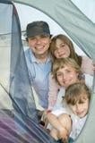 Gelukkige familie in tent royalty-vrije stock foto's