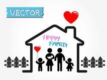 Gelukkige Familie (vader, moeder, zuigeling, zoon, dochter in gelukkig huis) Stock Foto's