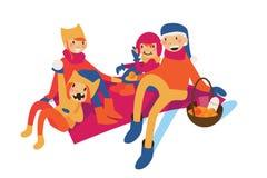 Gelukkige familie van mamma, papa en jonge geitjes die die picknick hebben bij deken, op wit wordt geïsoleerd royalty-vrije illustratie