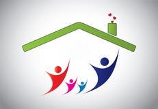 Gelukkige familie van mens, vrouw en kinderen die vreugde in huishuis de springen Stock Foto