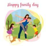 Gelukkige Familiedag in het Vectorconcept van het Parkbeeldverhaal royalty-vrije illustratie