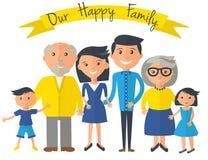 Gelukkige familieillustratie Vader, moeder, grootouders, zoons en dochterportret met banner Royalty-vrije Stock Foto