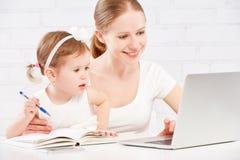 Gelukkige familiemoeder en kindbaby die thuis aan computer werken Stock Foto