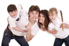 Gelukkige familiemoeder, vader, dochter en zoon. Royalty-vrije Stock Foto