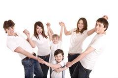 Gelukkige familiemoeder, vader, dochter en zoon. Royalty-vrije Stock Foto's
