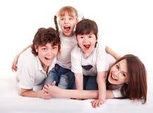 Gelukkige familiemoeder, vader, dochter en zoon. Stock Foto