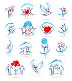 Gelukkige familiereeks pictogrammen en royalty-vrije illustratie