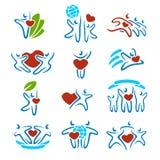Gelukkige familiereeks pictogrammen en stock illustratie
