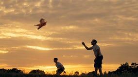 Gelukkige familievader en kinderen die in de weide met een vlieger in de zomer bij zonsondergang lopen stock videobeelden