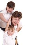 Gelukkige familievader en twee kinderen. Royalty-vrije Stock Fotografie