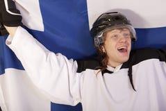 Gelukkige finse ijshockeyspeler Stock Afbeelding
