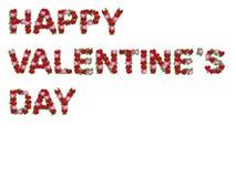 Gelukkige geïsoleerdee valentijnskaartinschrijving van harten Royalty-vrije Illustratie