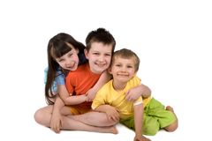 Gelukkige Geïsoleerdek Kinderen Stock Afbeeldingen